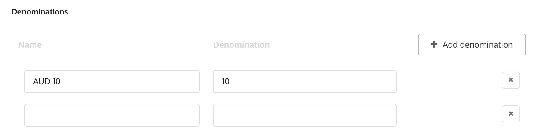 Adding denominations