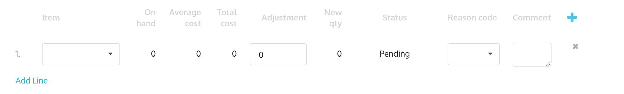 Inventory adjustment line